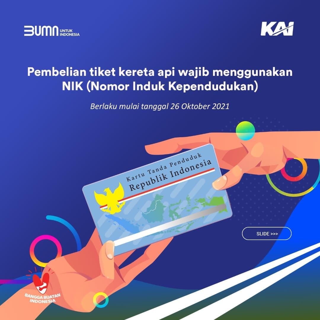 Pembelian Tiket KA Keberangkatan Mulai 26 Oktober Wajib Gunakan NIK