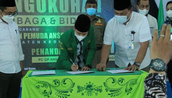Beri Perlindungan Pengurus, GP Ansor Kab Kediri Teken MoU